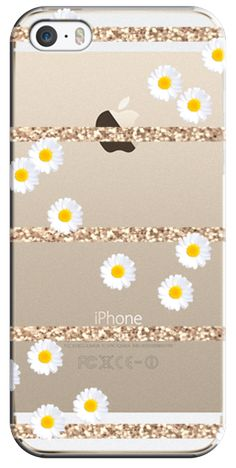 Casetify iPhone 5s Classic Snap Hülle - DAISY & GLITTER $ 40 Transparent Crystal Clear iphone case by Monika Strigel #Casetify
