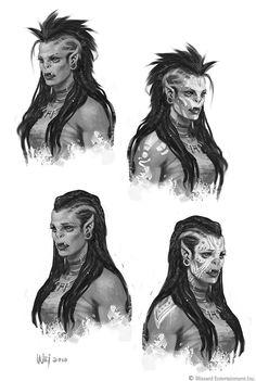 ArtStation - The Art of Warcraft Film - Draka, Wei Wang Fantasy Races, Fantasy Warrior, Fantasy Rpg, Fantasy Artwork, Dnd Characters, Fantasy Characters, Female Characters, Warcraft Movie Characters, Fantasy Character Design