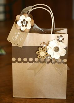 cute brown paper gift bag