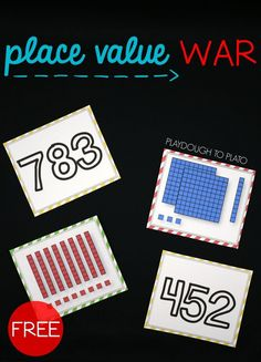 Place Value War! Such a fun math center or place value game for first grade or second grade. Read and write your number and then figure out who has the biggest one! game Place Value War Free Math Games, Fun Math, Ten Games, Math Place Value, Place Values, Place Value Activities, Place Value Centers, Kindergarten Math Activities, Teaching Math