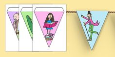 Looking for the perfect resource to complete your display? We have a whole range of bunting in a number of different colours and designs. Wonderful for brightening up your walls and creating a fun learning atmostphere in your classro Bfg Roald Dahl, Roald Dalh, Matilda Roald Dahl, Roald Dahl Quotes, Bfg Activities, Roald Dahl Activities, Nursery Activities, School Library Displays, Classroom Displays