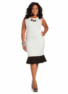 f4061f95029 Ruffle Hem Sheath Dress - Ashley Stewart Ashley Stewart