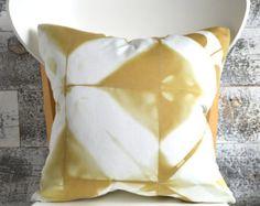 Shibori Pillow Cover 16x16 inches Dark Flax by SeaAndStoneShop