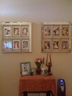 what to make with old window frames   Old window picture frames (color photos)   I want to make this: for...