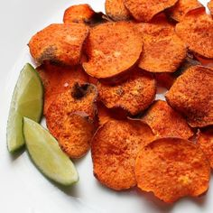 "BAKED CHILI-LIME SWEET POTATO ""CHIPS"">>> Ingredients: ■Sweet potatoes, sliced very thin (You can use a mandoline for quick slicing; I used a knife.) ■Coconut oil, melted (You could also use clarified butter or olive oil.) ■Garlic salt ■Chili powder (You could also use a chili-lime seasoning mix.) ■Lime wedges"