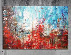 Annette Freymuth nettis-art Acrylbild in Spachteltechnik. Abstrakt türkis blau rot weiß. Acrylic painting palette knife technique turquoise brown red white