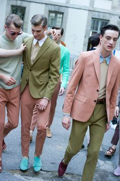 Menswear looks with amazing muted colours (can totally copy these for ladies)