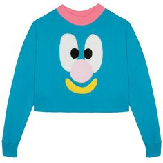Lazy Oaf Face Sweatshirt (£72) ❤ liked on Polyvore featuring tops, hoodies, sweatshirts, oversized tops, lazy oaf sweatshirt, fuzzy top, patch sweatshirt and blue top