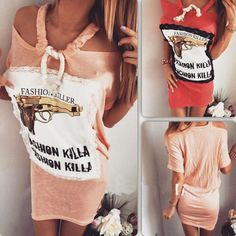 2016 summer new strapless lace stitching straps pistol letters printed mini dress