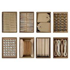 home office - 24 Piece Brown Box Office Supplies Assortment Distributed by General Trading LTD