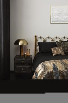 Art Deco inspired, the new Golden Age trend from A by Amara is decadent and glamorous for your bedroom Black White And Gold Bedroom, Black Bedroom Decor, Black Bedroom Design, Black Rooms, Room Ideas Bedroom, Art Deco Interior Bedroom, Black Bedroom Furniture, Eclectic Bedroom Decor, Hotel Bedroom Decor