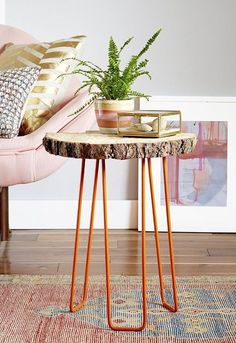 DIY Tree Slab Side Table with Hairpin Legs  Emily Henderson ...