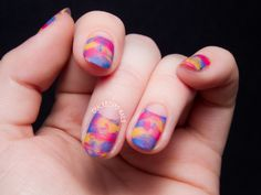 Bright Distressed Design w/ Negative Space Half-Moons (Tutorial) - Chalkboard Nails