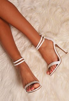Tejana White Strappy Leather Look Stiletto Heel