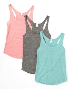 Take a look at this Coral, Dark Heather & Mint Tri-Blend Tank Set today!