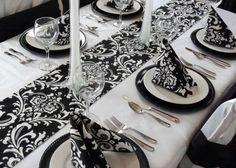 Decoración boda en blanco y negro: fotos ideas elegantes - Elegante mesa de boda bicolor