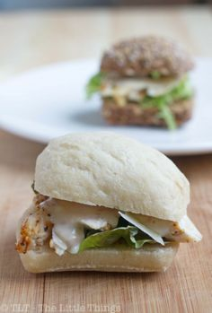 Chicken Caesar Sliders with Homemade Caesar Dressing (egg free but has anchovies -- could substitute bottled Caesar dressing...).