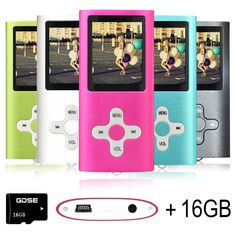 Goldenseller 16GB Mp3 Player Mp4 Player for a Micro SD Card Slot, Media Player, Music Player, Portable Videos Player,Voice Recording Player (Pink)