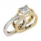 Interchangeable Two Tone Radiant Cut Created White Sapphire Wedding Set - Jeulia Jewelry