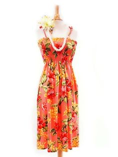 Anuenue Creations Summer Mini Dress [Hibiscus&Plumeria/Pink] for Hawaiian Luau Party and Tropical Vacation! Free Shipping from Hawaii!