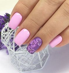 Top 30 Trending Nail Art Designs And Ideas Purple Manicure, Rose Nails, Manicure And Pedicure, Pink Nails, New Nail Designs, Colorful Nail Designs, Fancy Nails, Pretty Nails, Black Acrylic Nails