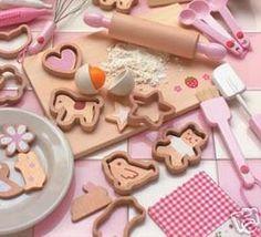 Wooden Toy Pretend Cookie Make Mini Set Mother Garden | eBay