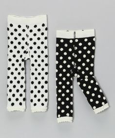 Take a look at this White & Black Fuzzy Polka Dot Leggings Set - Infant & Toddler by Mud Pie on #zulily today!