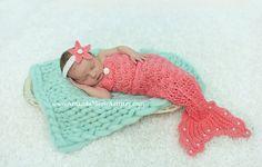 Princesa sirena cola de sirena recién nacido Crochet &