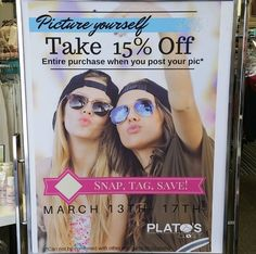 Snap yourself in front of our selfie wall. Tag @platosclosetoakville and you will save 15% off your entire purchase.  #dealsondeals #oakville #mississauga #PlatosClosetOakville #fun #marchbreak2017😊 | www.platosclosetoakville.com