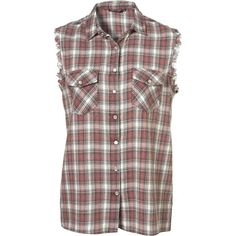Sleeveless Grunge Check Shirt ($45) ❤ liked on Polyvore featuring tops, shirts, blouses, flannels, women, purple shirt, flannel shirts, flannel tops, purple top and sleeveless button front shirt