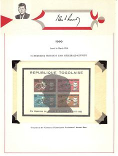 Issued by Republic of Togo in 1964. IN MEMORIAM.