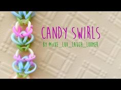 Rainbow Loom Bands Candy Swirls by @Liv_Luv_Laugh_Loomer (no hook two peg no loom tutorial)