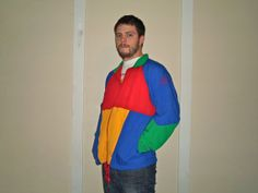 1990s Colorblock Mens Bike Windbreaker Jacket, 90s Athletic Crayola Windsuit on Etsy, $27.00