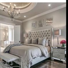 Home Bedroom, Bedroom Decor Glam, Bedroom Design, Dream Bedroom Master Bedroom Design, Dream Bedroom, Home Decor Bedroom, Bedroom Modern, Contemporary Bedroom, Trendy Bedroom, Modern Contemporary, Bedroom Designs, Classy Bedroom Ideas