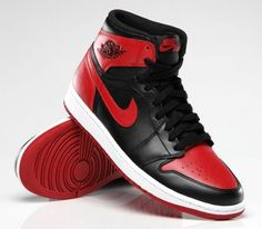 "Return of the Air Jordan 1 Retro High OG ""Bred"": The iconic sneaker is hitting the shelves for the first time since Air Jordan Retro, Jordan 1 Red, Jordan 1 Retro High, Nike Air Jordans, Air Jordan Sneakers, Jordan Shoes, Shoes Sneakers, Jordan Basketball Shoes, Shoes Jordans"