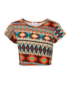 Aztec Print Cap Sleeve Orange Crop Top
