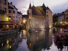 Annecy at night - The Palais de l'Ile.