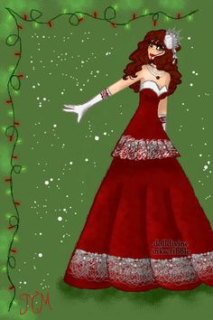 Christmas Gown ~ by ToTheMoon ~ created using the Neptune's Daughter doll maker | DollDivine.com
