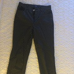 Chaps Size 4 Polka Dot Straight leg Dress Pants These are so adorable I loooove them! I had a baby though and they are too snug at the waist so they have to go to a new home! They are in excellent condition and are great quality! Chaps Pants Straight Leg