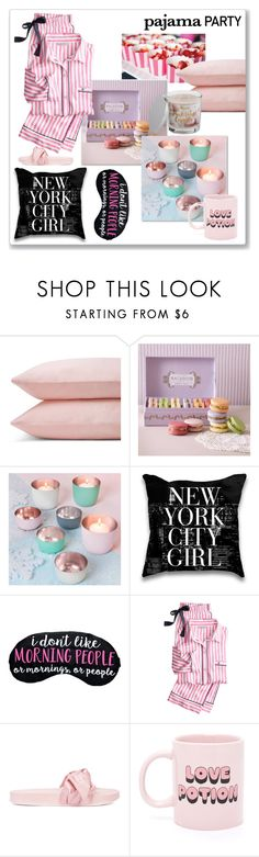 """""""Pajama party No.1"""" by lionfishka ❤ liked on Polyvore featuring Hostess, Schlossberg, Posh Totty Designs, Victoria's Secret, Puma, ban.do and SONOMA Goods for Life"""