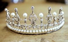 Crown Princess Mary's Wedding Tiara (pearl setting), Denmark (pearls, diamonds).