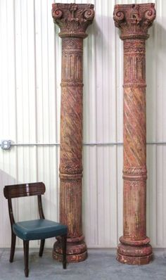 Pair 9 FOOT CARVED & PAINTED CORINTHIAN WOOD COLUMNS - Sold $400