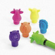 Neon Zoo Animal Pencil Top Erasers