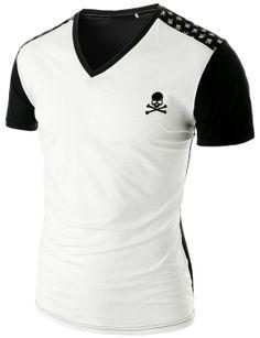 Doublju Men's Embossed Pattern V-neck T-Shirt (CMTTS04) #doublju