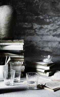 book stacks and glasses © Line Klein
