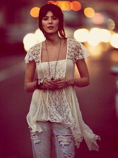 Boho White Lace & Jeans