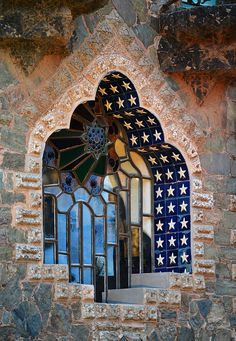 What a Beautiful, leaded glass window in the Bellesguard Manor House! Constructed between 1900 - 1909 by Antoni Gaudi in Barcelona, Spain. One of the few Gaudi things I like.