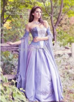 Medieval Wedding Dress LOTR Renaissance Fantasy Gown LARP Lavender Fairy Gown