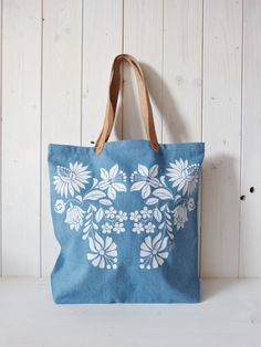 Items similar to cotton screenprinted denim jeans tote bag with genuine leather straps, Hungarian folk pattern, Light Blue on Etsy Denim Tote Bags, Rustic Cottage, Farmer, Screen Printing, Denim Jeans, Light Blue, Reusable Tote Bags, Pattern, Cotton