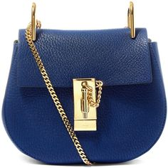 Chloe Mini Navy Drew Leather Bag ($1,455) ❤ liked on Polyvore featuring bags, handbags, shoulder bags, leather purse, leather handbags, chain strap shoulder bag, navy blue leather handbags and navy blue purse